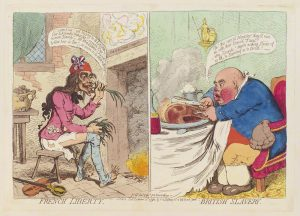 """French Liberty, British Slavery"" by James Gillray, published by Hannah Humphrey, hand-coloured etching, published 21 December 1792, © National Portrait Gallery, London."